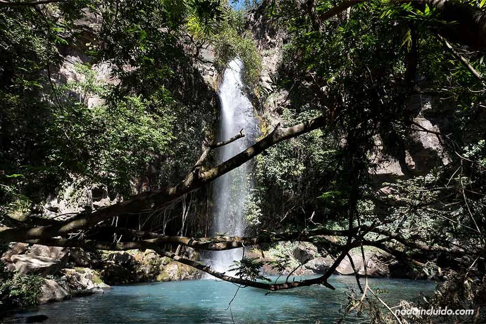 La catarata La Cangreja se deja ver entre los árboles en el Parque Nacional Rincón de la Vieja (Costa Rica)