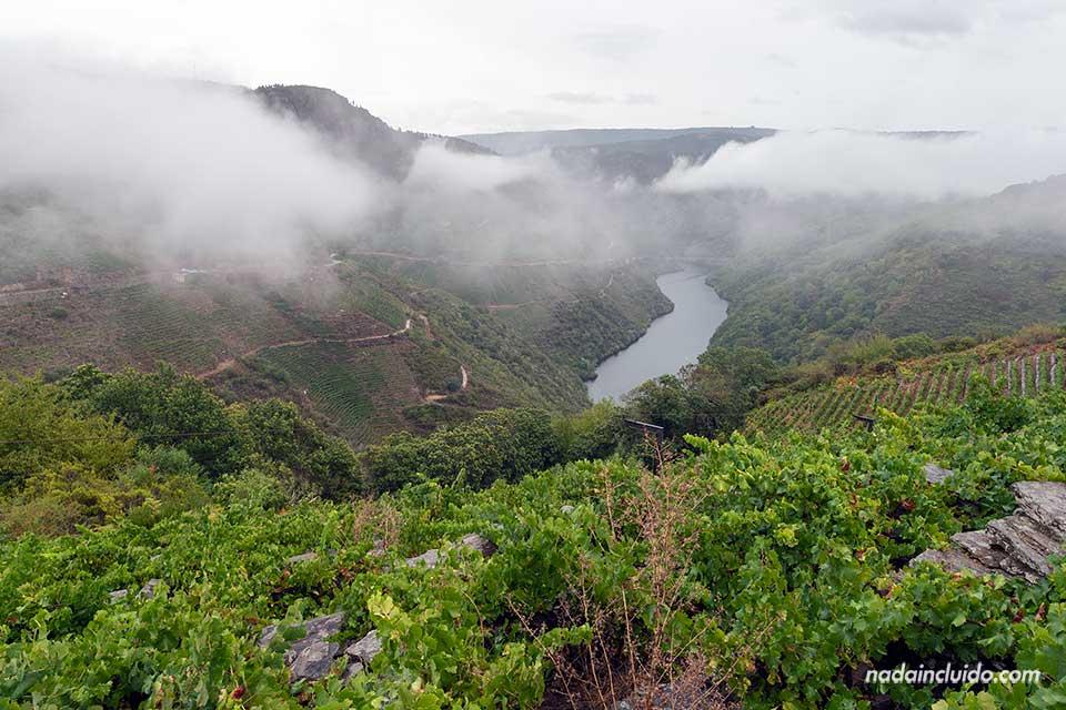 Nubes sobre el río Sil vistas desde el mirador Souto Chao, Ribeira Sacra (Galicia)