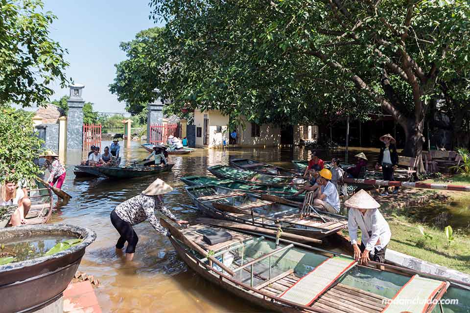 Barcas aparcadas junto a la entrada a las Mua Caves, en Ninh Binh (Vietnam)