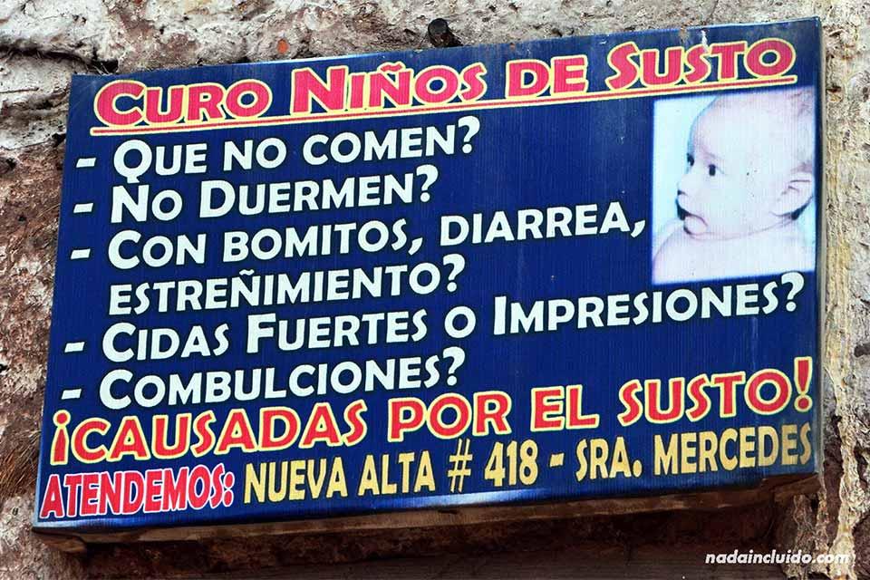 Cura niños del susto. Cartel en Cuzco (Perú)