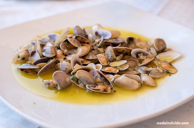 Comiendo almejas en el restaurante El Náutico de Chipiona (Cádiz)
