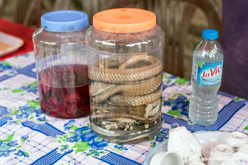 Licor de serpiente en Viet Hai, una aldea de la Bahía de Lan Ha (Vietnam)