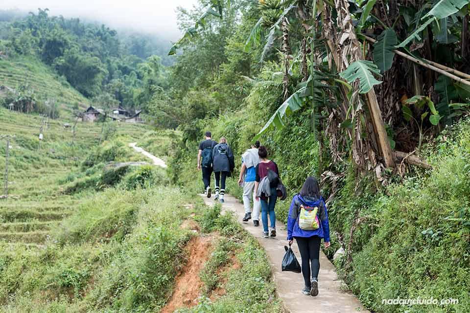 Senderos montañosos durante un trekking por la provincia de Lao Cai (Vietnam)