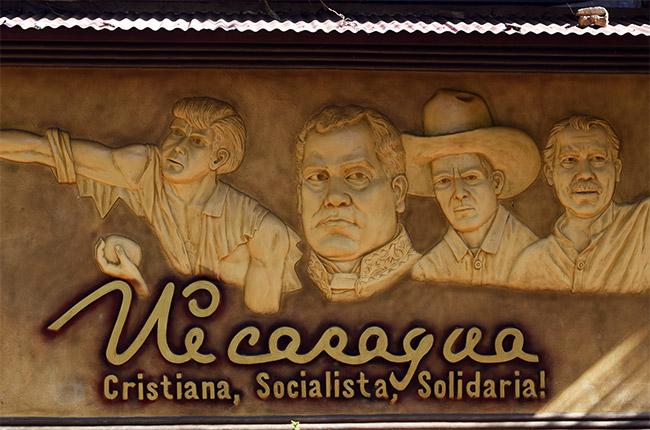 Mural sobre Nicaragua en el Parque Central de Diria