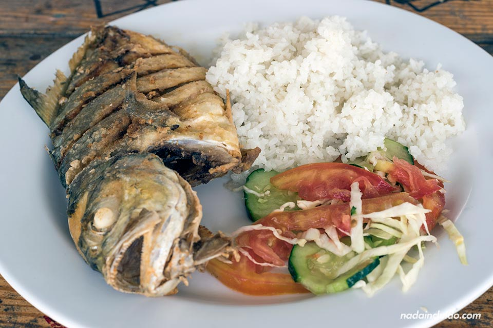 Plato típico de arroz con pescado en el archipiélago de San Blas (Panamá)
