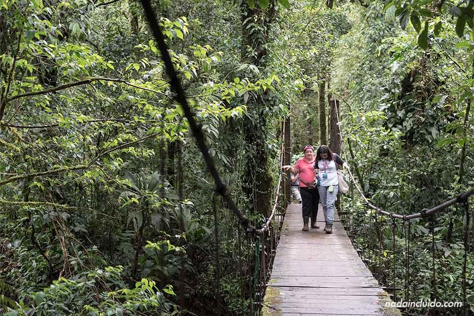 Una turista y una guía cruzan un puente colgante en Río Celeste, en el Parque Nacional del Volcán Tenorio (Costa Rica)