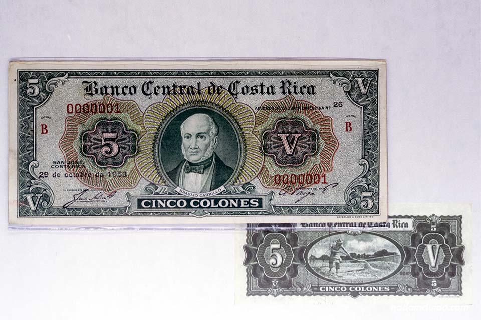 Billete de colón antiguo (San José, Costa Rica)