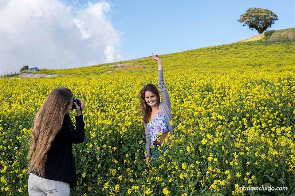 Dos chicas se hacen fotos en un campo de flores amarillas cerca del Volcán Irazú (Costa Rica)
