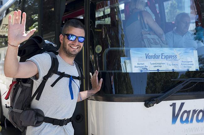 Cogiendo el bus al aeropuerto de Skopje (Macedonia)
