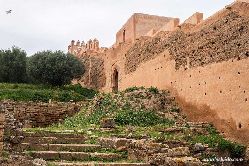 Muralla de la necrópolis de Chellah en Rabat (Marruecos)