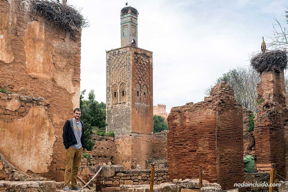 Junto a la torre de la necrópolis de Chellah, Rabat (Marruecos)