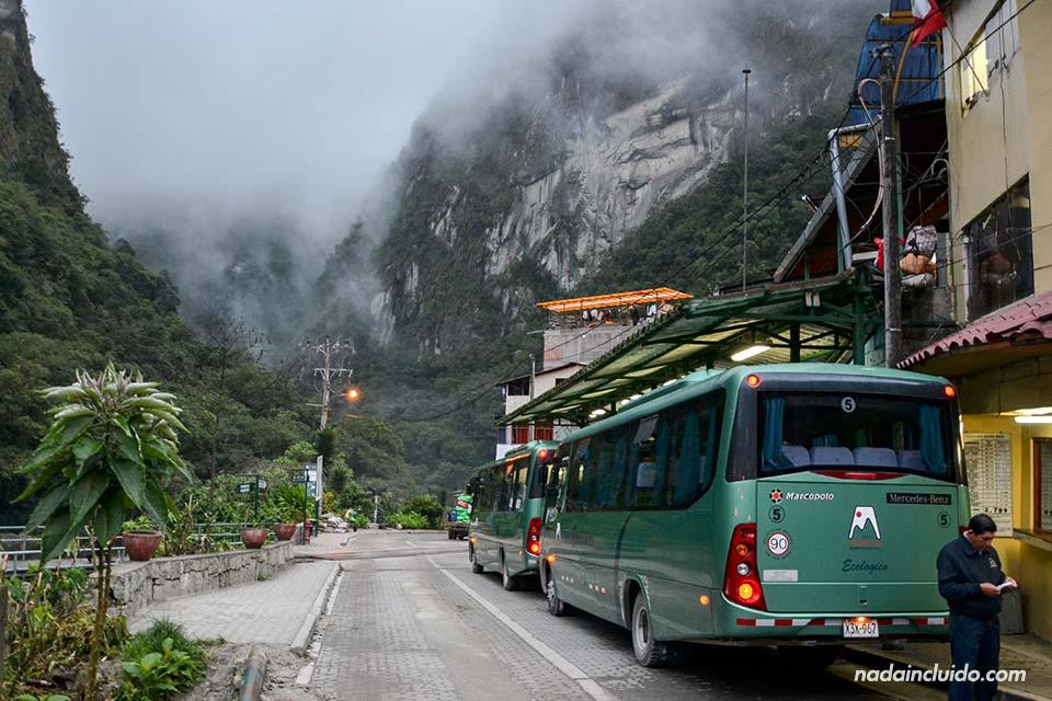 Autobús que sube a Machu Picchu desde Aguas Calientes (Perú)