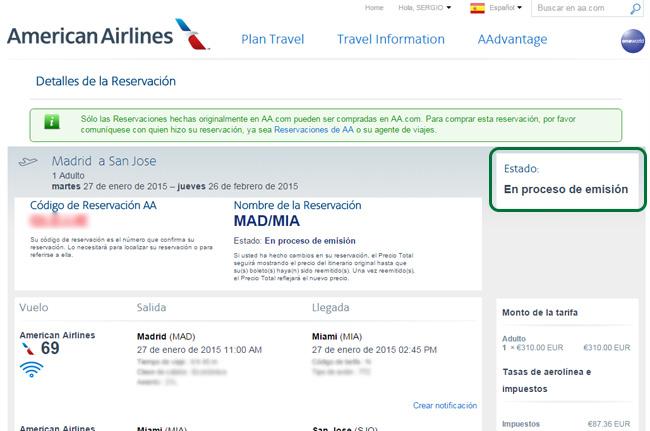 Billete en proceso de emisión en la web de la aerolínea American Airlines