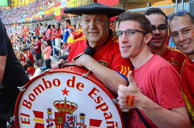 Manolo el del Bombo en el Gdansk Arena, durante el España - Croacia de la Eurocopa 2012