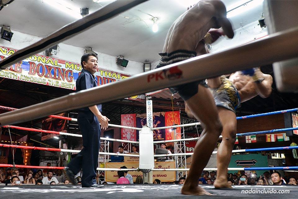 Combate de Muay Thai en el Thapae Boxing Stadium (Chiang Mai, Tailandia)