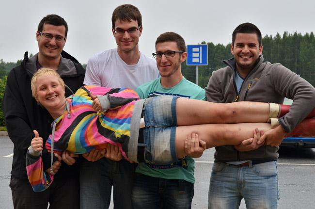 Con Heini, a una autostopista a la que recogimos en Finlandia