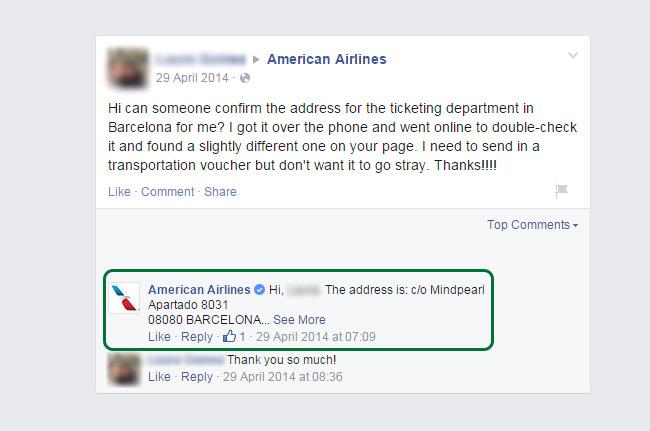 Dirección errónea para la entrega de Vouchers en American Airlines