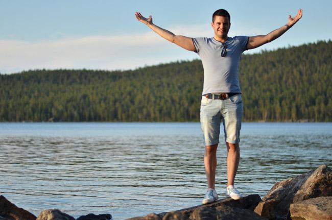 En el lago Inari al norte de Finlandia, en Ivalo