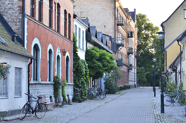 Atardecer en una calle de Malmö (Suecia)