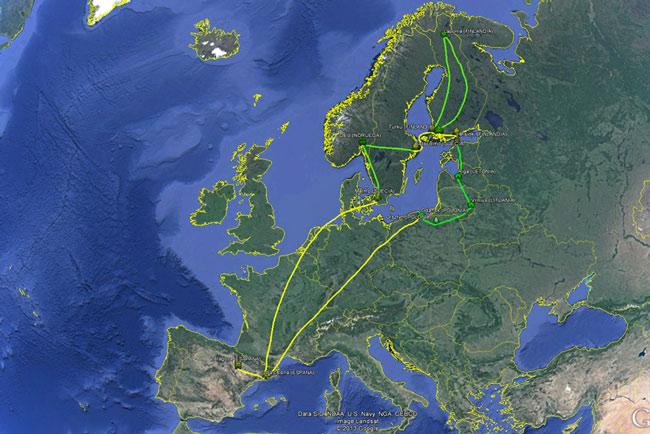 Ruta sobre el mapa de nuestro viaje por Polonia, Lituania, Letonia, Estonia, Finladia y Suecia
