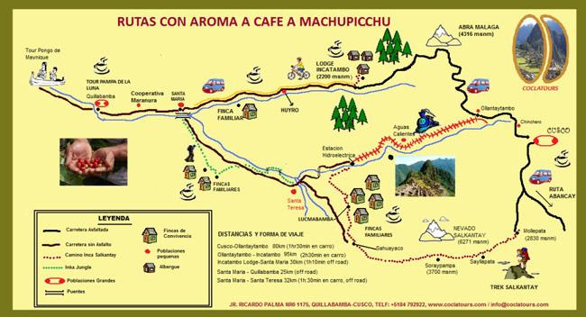 Mapa Cuzco - Machu Picchu, ruta alternativa