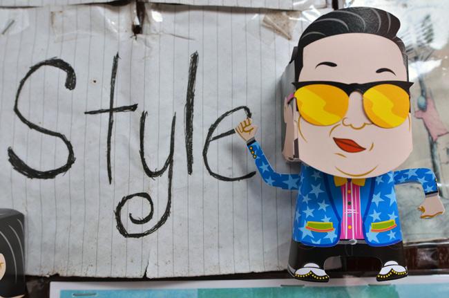 Muñeco de Gangnam Style en el barrio de Clan Jetties (Penang, Malasia)