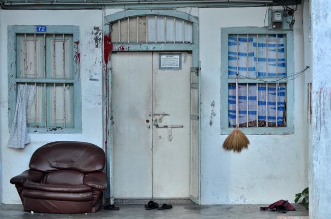 Fachada de una casa en Georgetown (Penang, Malasia)