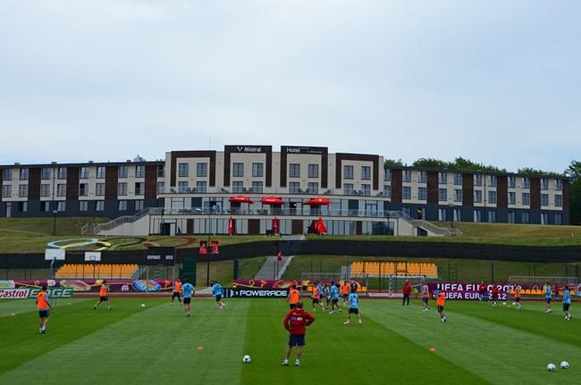 Entrenamiento de la Selección Española en Gniewino (Polonia), durante la Eurocopa 2012