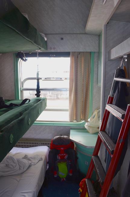 Habitación en un tren cama entre Polonia y Ucrania