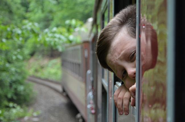 Un niño se entreasoma por la ventana de un tren rumbo a Polonia