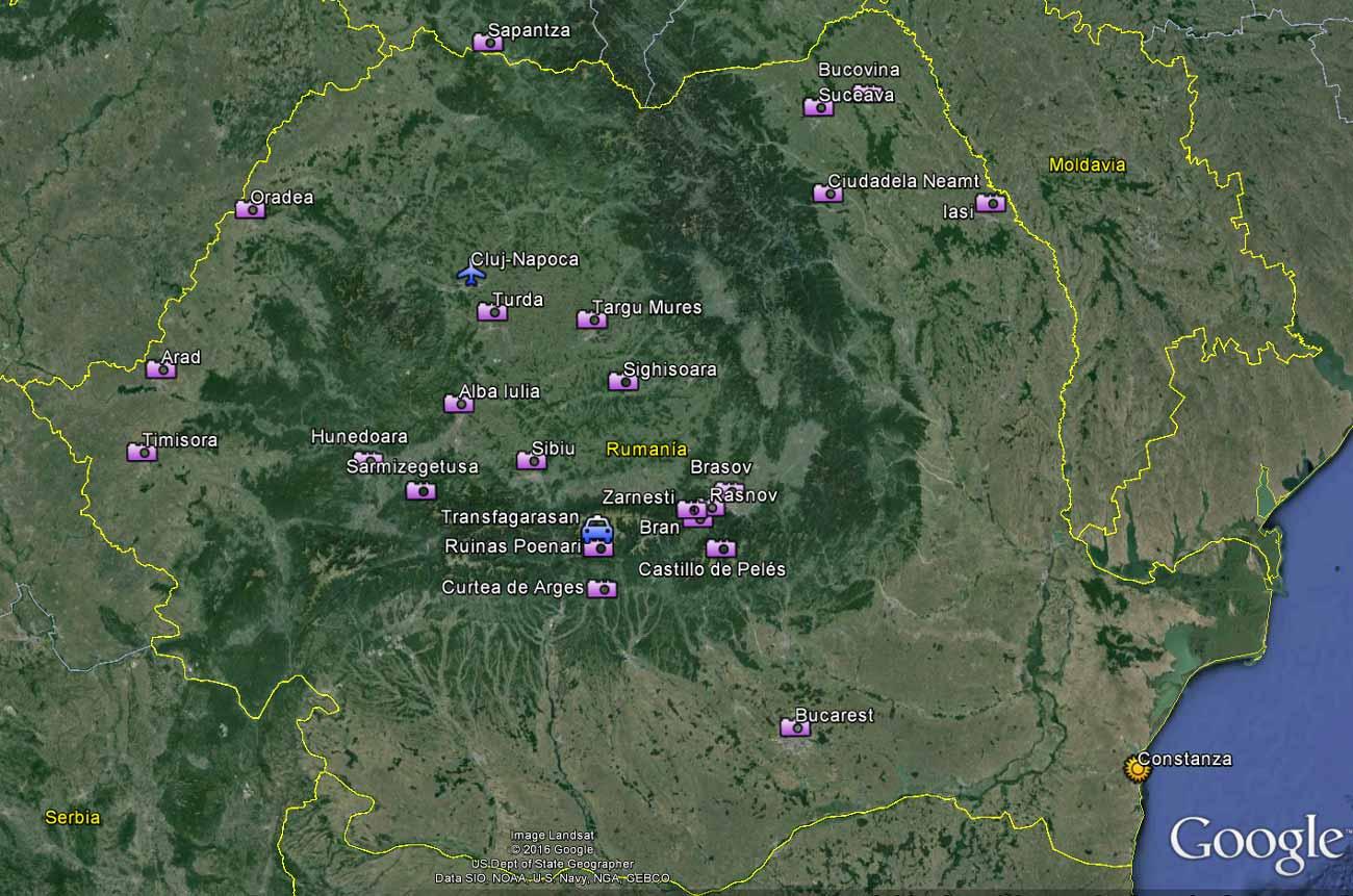 Posible ruta de viaje Nada Incluido por Rumanía