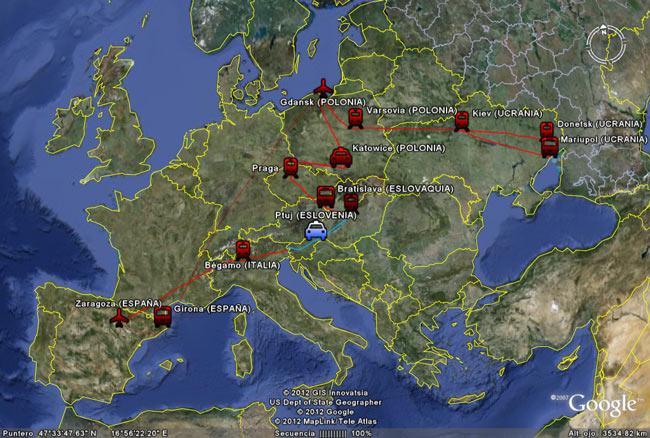La ruta completa de nuestro Euro2012trip
