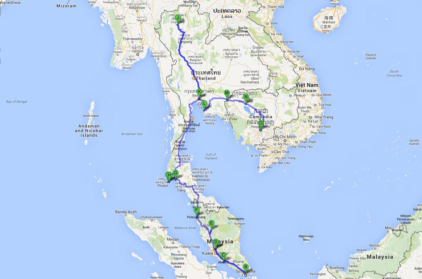 La ruta de nuestro viaje lowcost por el sudeste astiático: Malasia, Talandia, Camboya y Singapur