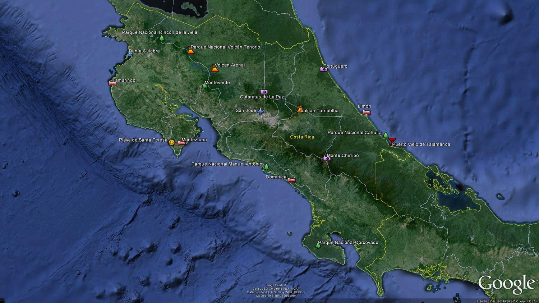 Puntos de interés en Costa Rica