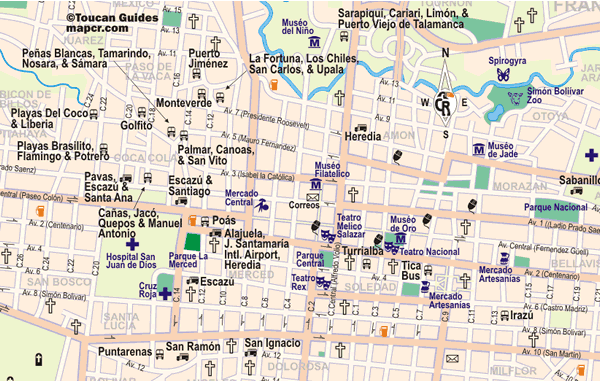 En este mapa podrás encontrar la ubicación de las principales estaciones de bus de San José (Costa Rica)