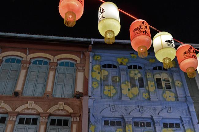 Farolillos chinos en el barrio de China Town de Singapur