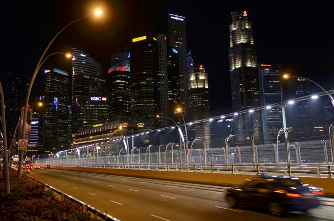 Carretera por la que se celebra el gran premio de fórmula 1 de Singapur, en Marina Bay