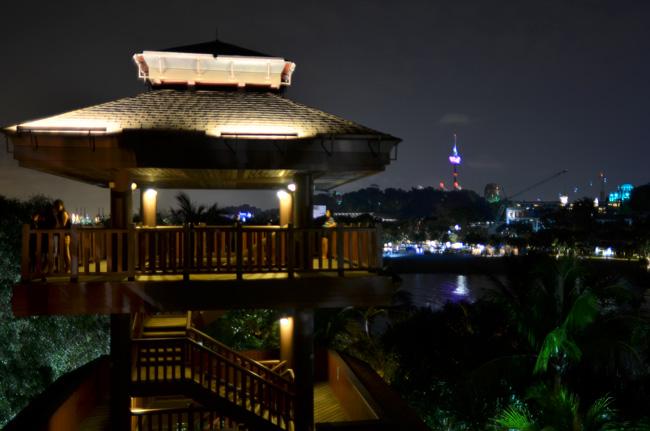 Vista nocturna de la isla de Sentosa, Singapur