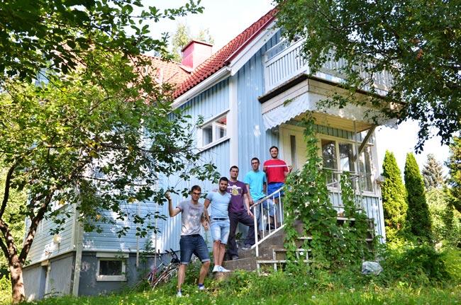 Fachada de la casa de nuestros anfitriones en Tampere (Finlandia)